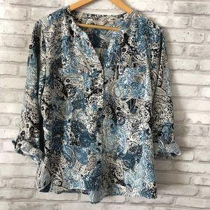 Paisley print button down blouse Coral Bay